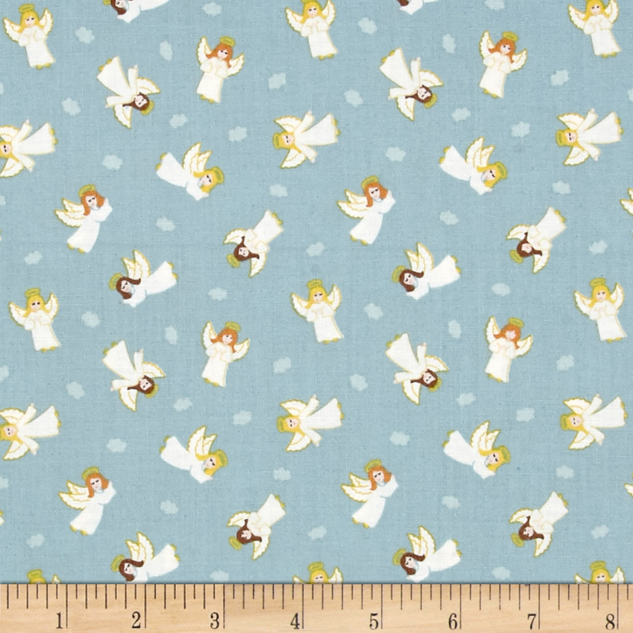 Lewis & Irene Small Things At Christmas Little Angels Icy Blue Fabric 0492362