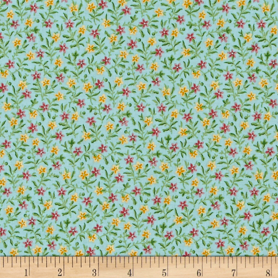 Bleecker Street Posey Blue Mist Fabric by Quilting Treasures in USA
