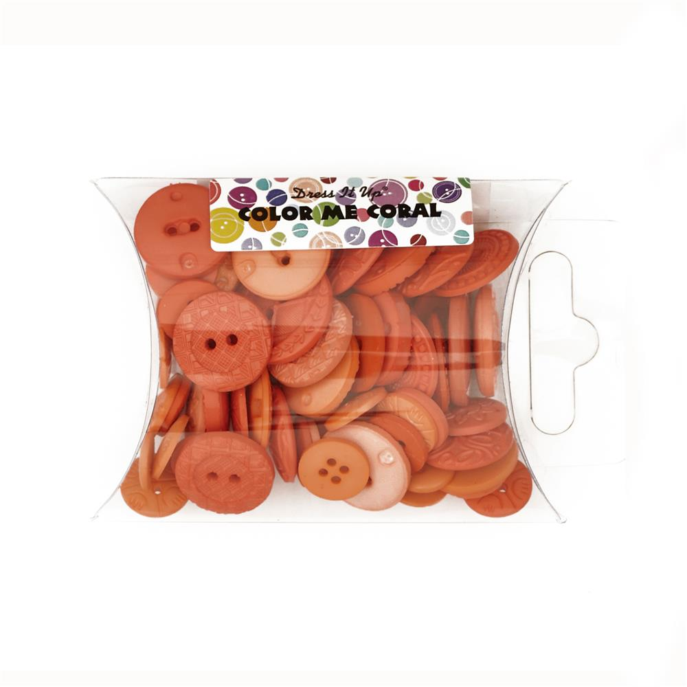 Dress It Up Color Me Collection Pillow Pack Buttons Coral