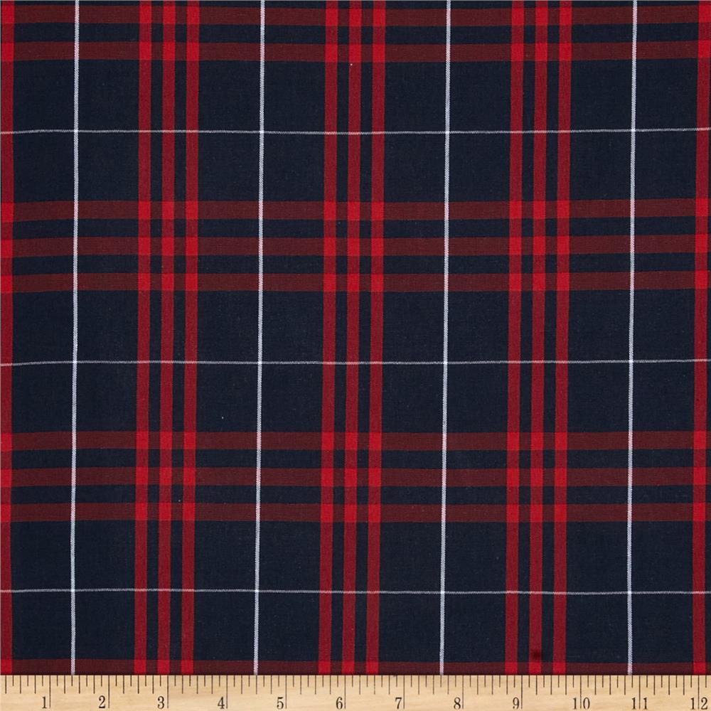 Poly/Cotton Uniform Plaid Navy/Red/White