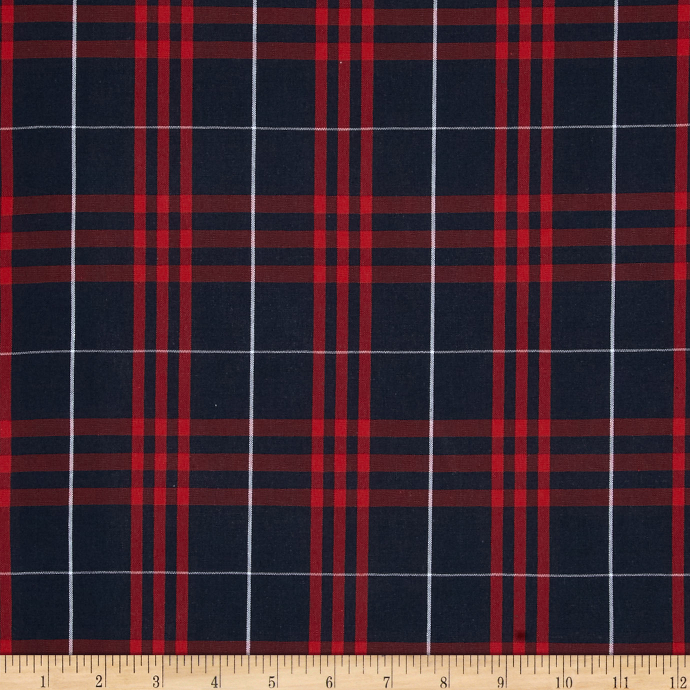 Poly/Cotton Uniform Plaid Navy/Red/White Fabric by Carr in USA