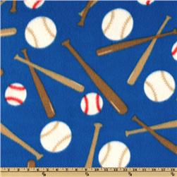 Sports Fleece Baseball Balls and Bats Royal