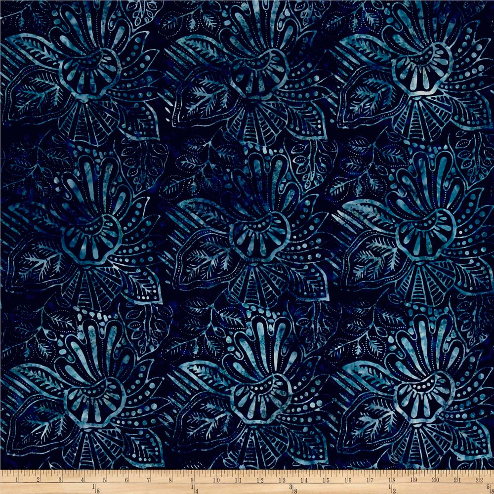 Wilmington Batiks Large Floral Navy