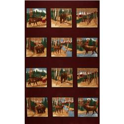 Moda Timber Trail Flannel Panel Red Clay