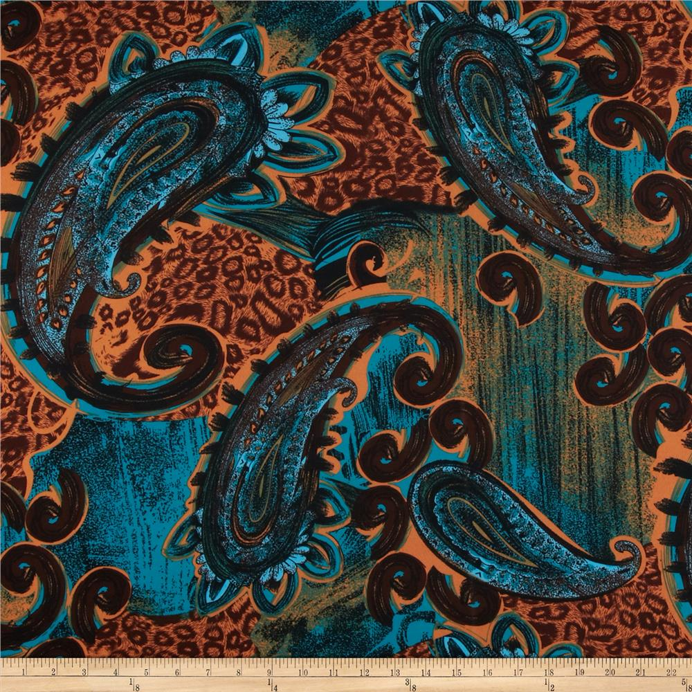 Stretch Venecia ITY Jersey Knit Paisley Turquoise/Brown