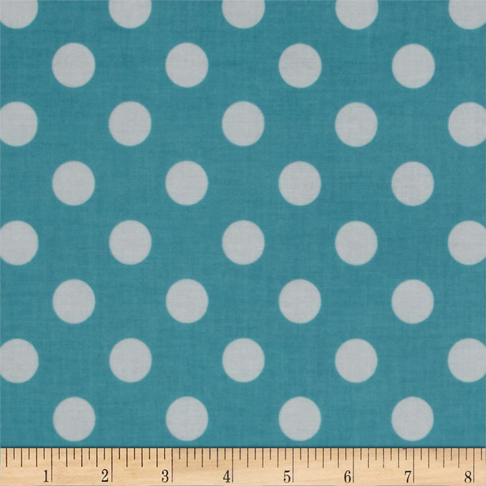 Riley Blake Laminate Medium Dots Aqua/White