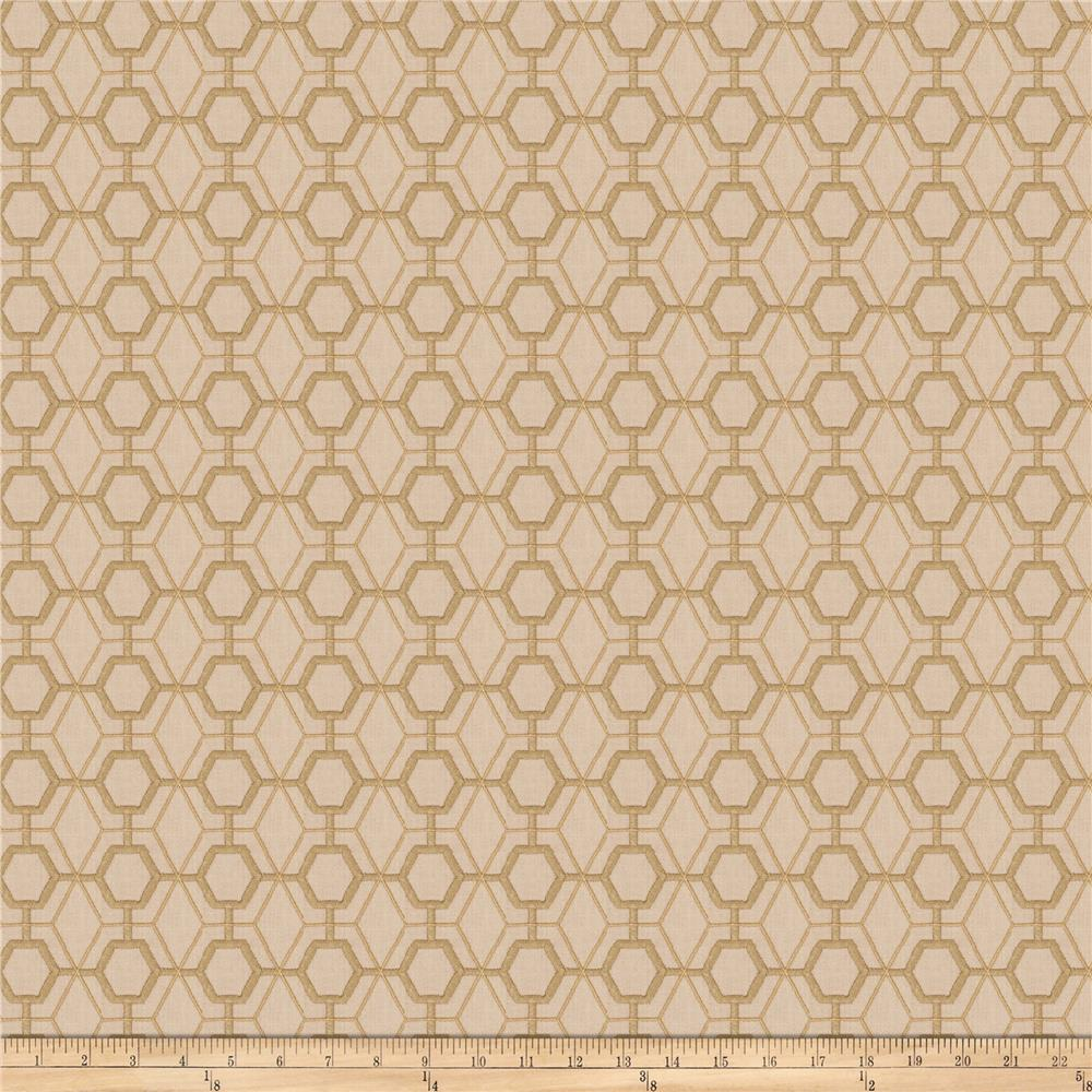 Fabricut Heinz Lattice Embroidered Canvas Bamboo Ja