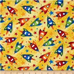 Rockets & Robots Rockets Yellow Fabric
