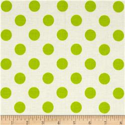 Riley Blake Le Creme Basics Medium Dots Cream/Lime