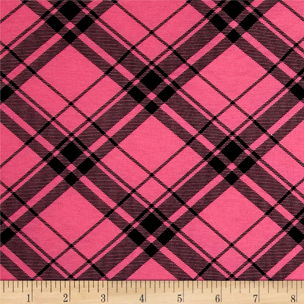 Printed Jersey Knit Black Plaid on Hot Pink Fabric