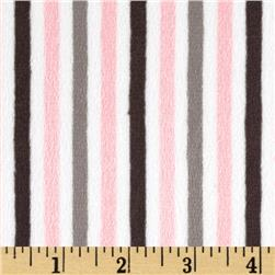 Minky Cuddle Classic Mini Stripe Blush/Silver Fabric