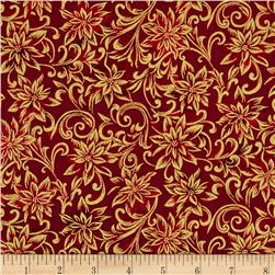 Marblehead Glistening Metallics III Scroll Floral Red Fabric