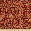 Marblehead Glistening Metallics III Scroll Floral Red