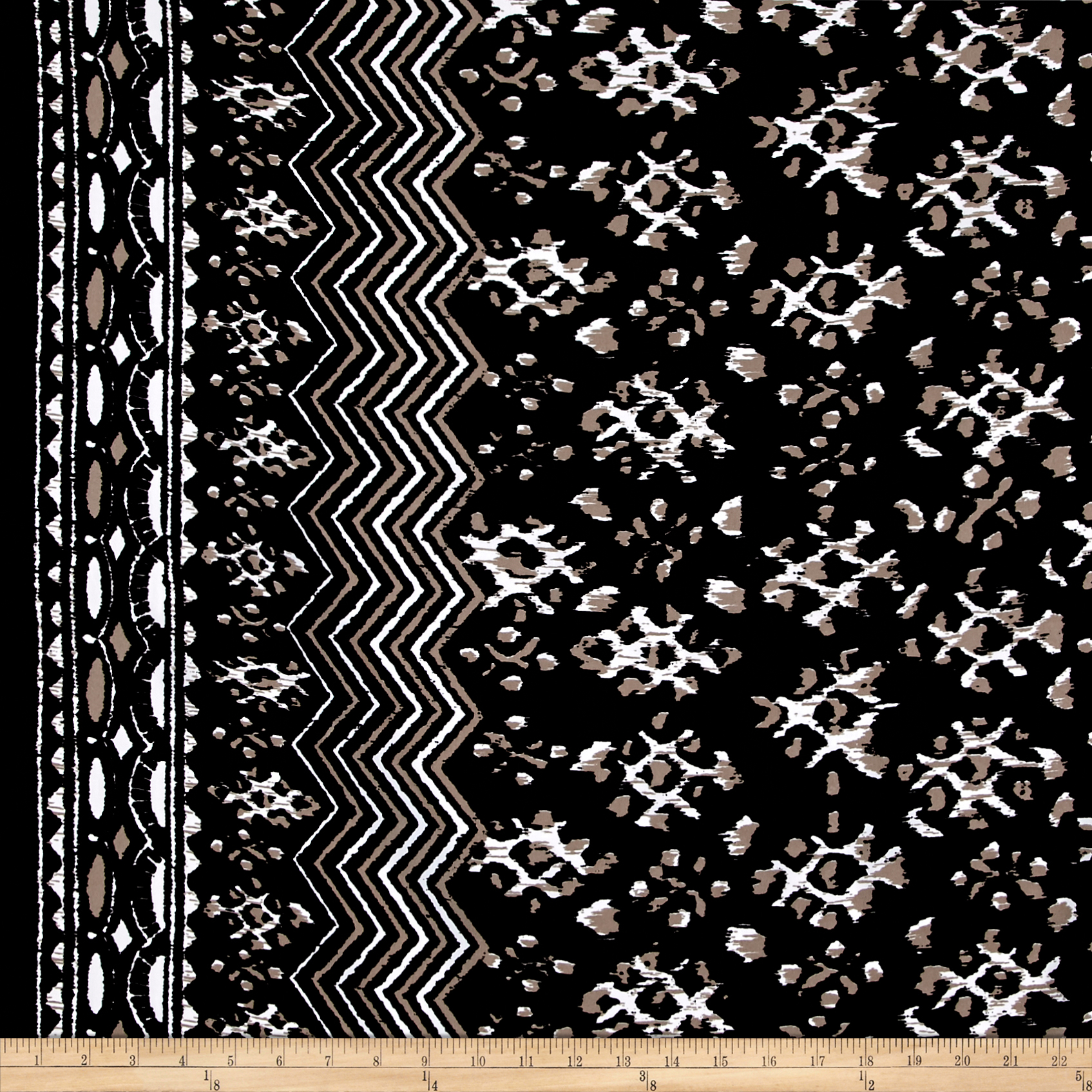 Peachskin Chevron Black/White Fabric