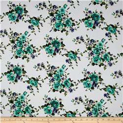 Stretch Poplin Floral Snow White/Mint