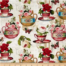 Tea Pot Flora Tea & Music Cream/Multi