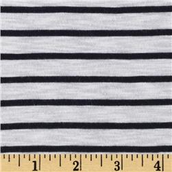 Designer Rayon Blend Tissue Jersey Knit Stripes Navy/White