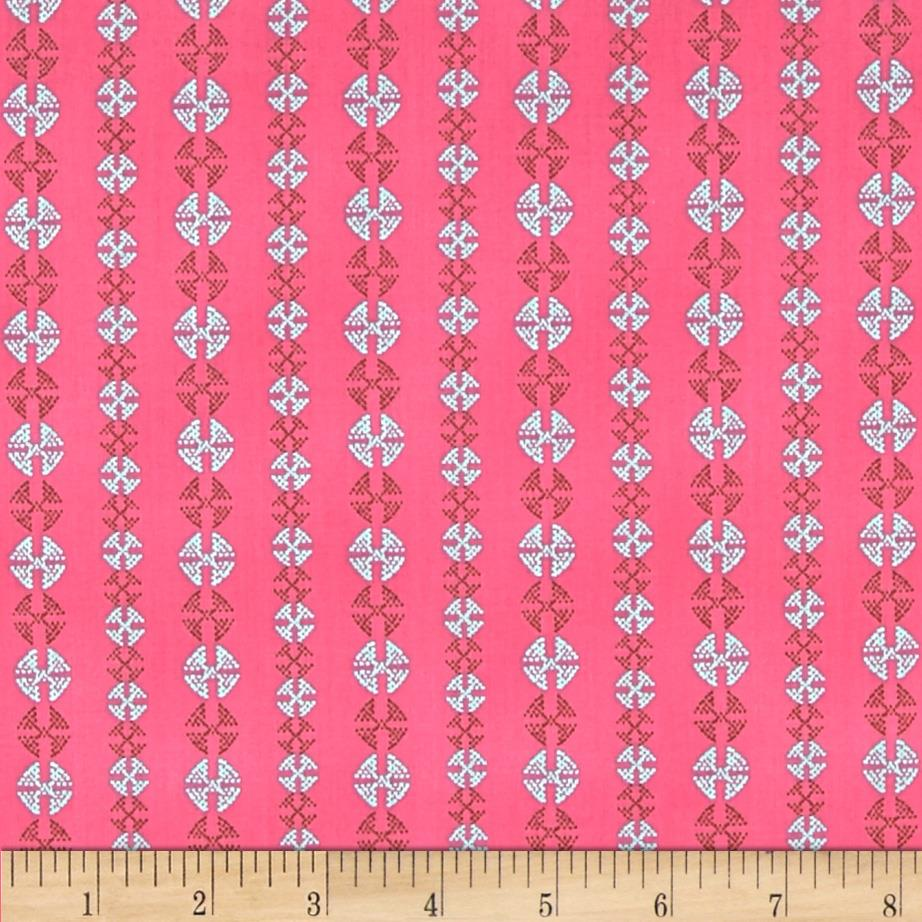 Amy Butler Bright Heart Voile Stitchy Dots Cherry