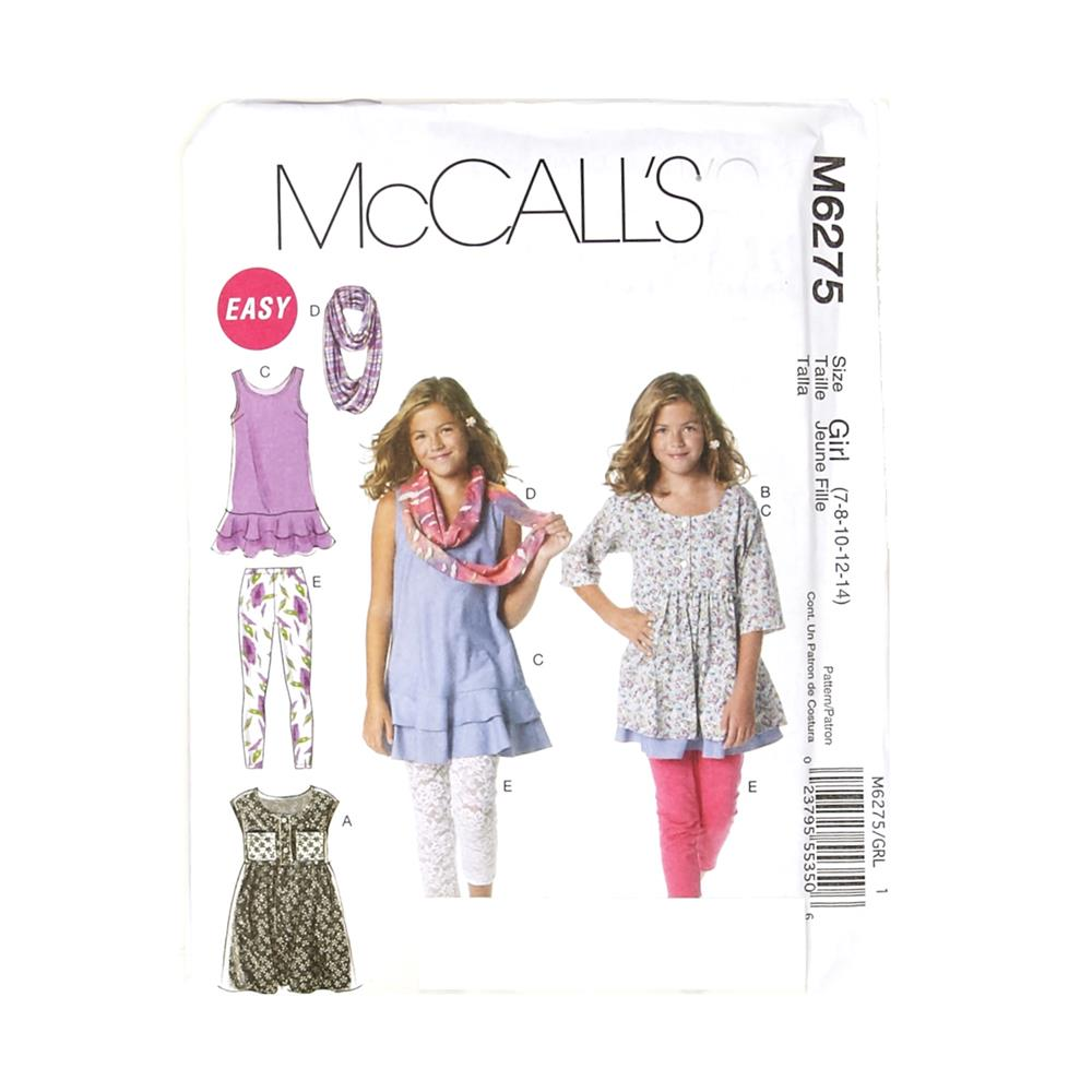 McCall's Girls'/Girls' Plus Dresses, Scarf and Leggings Pattern M6275 Size GIRL