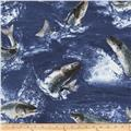Timeless Treasures Into the Wild Fish Blue