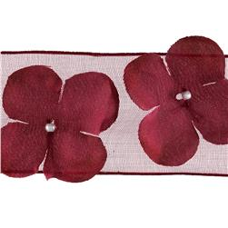 "1 1/2"" Wired Dimensional Flower Organza Ribbon Burgundy"