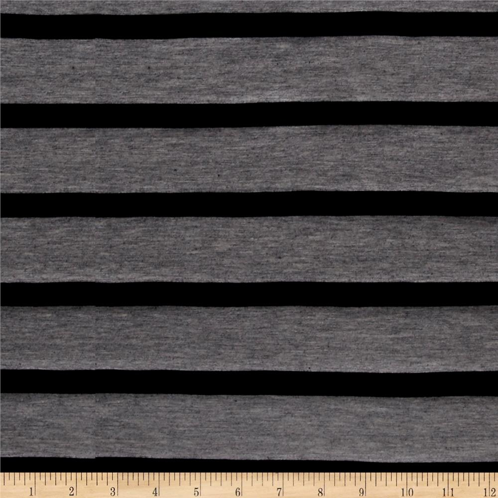 Jersey Knit Stripe Black/Grey Fabric By The Yard