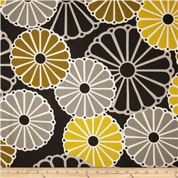 Duralee Whimsy Flower Sateen Brown/Yellow