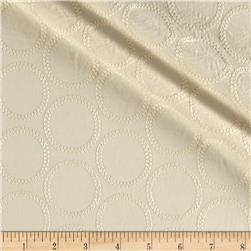 Kaufman Rebecca Embroidered Deluxe Poplin Circles Natural