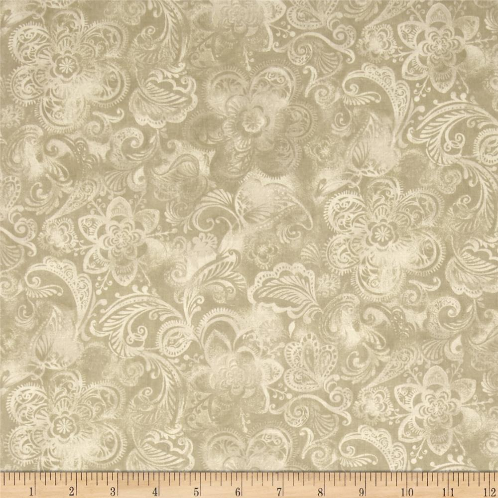 44 wide quilt fleur taupe discount designer fabric for Design couchtisch fabric