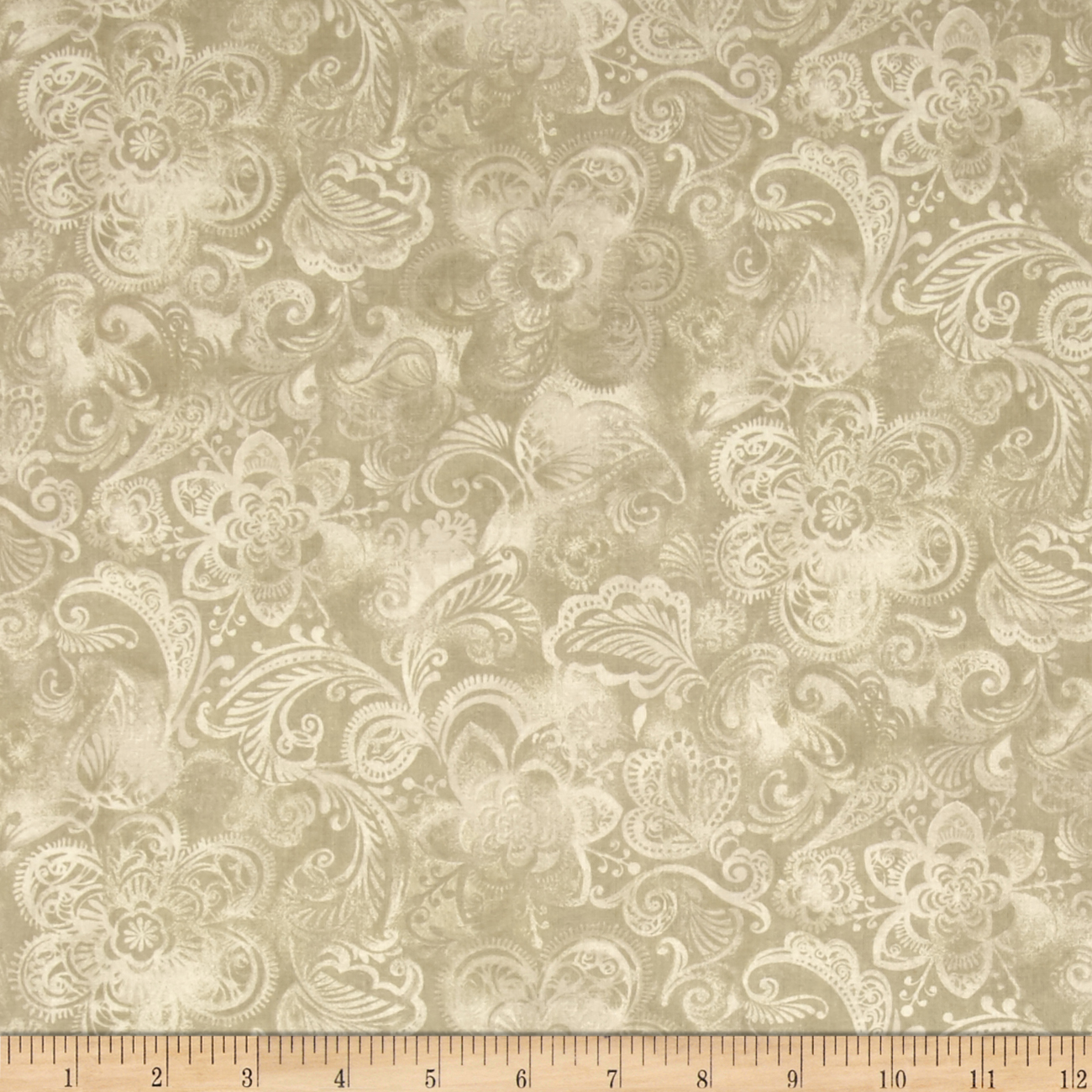 44'' Wide Quilt Fleur Taupe Fabric by Santee in USA