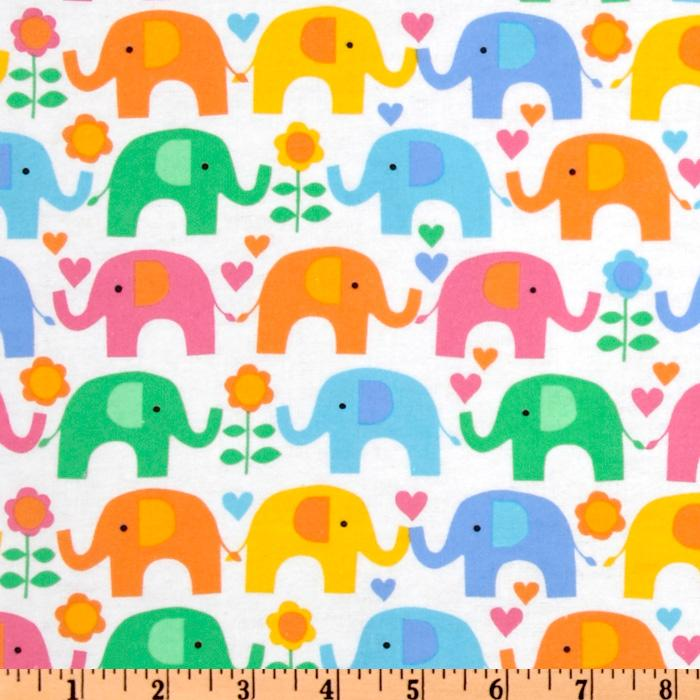 Timeless Treasures Kidz Flannel Elephant Multi