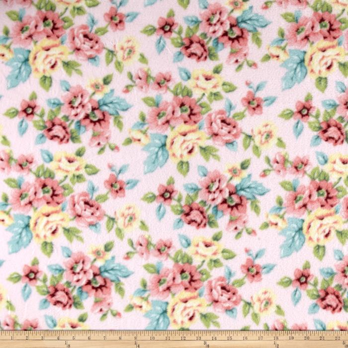 Winterfleece Rose Floral Pink Fabric