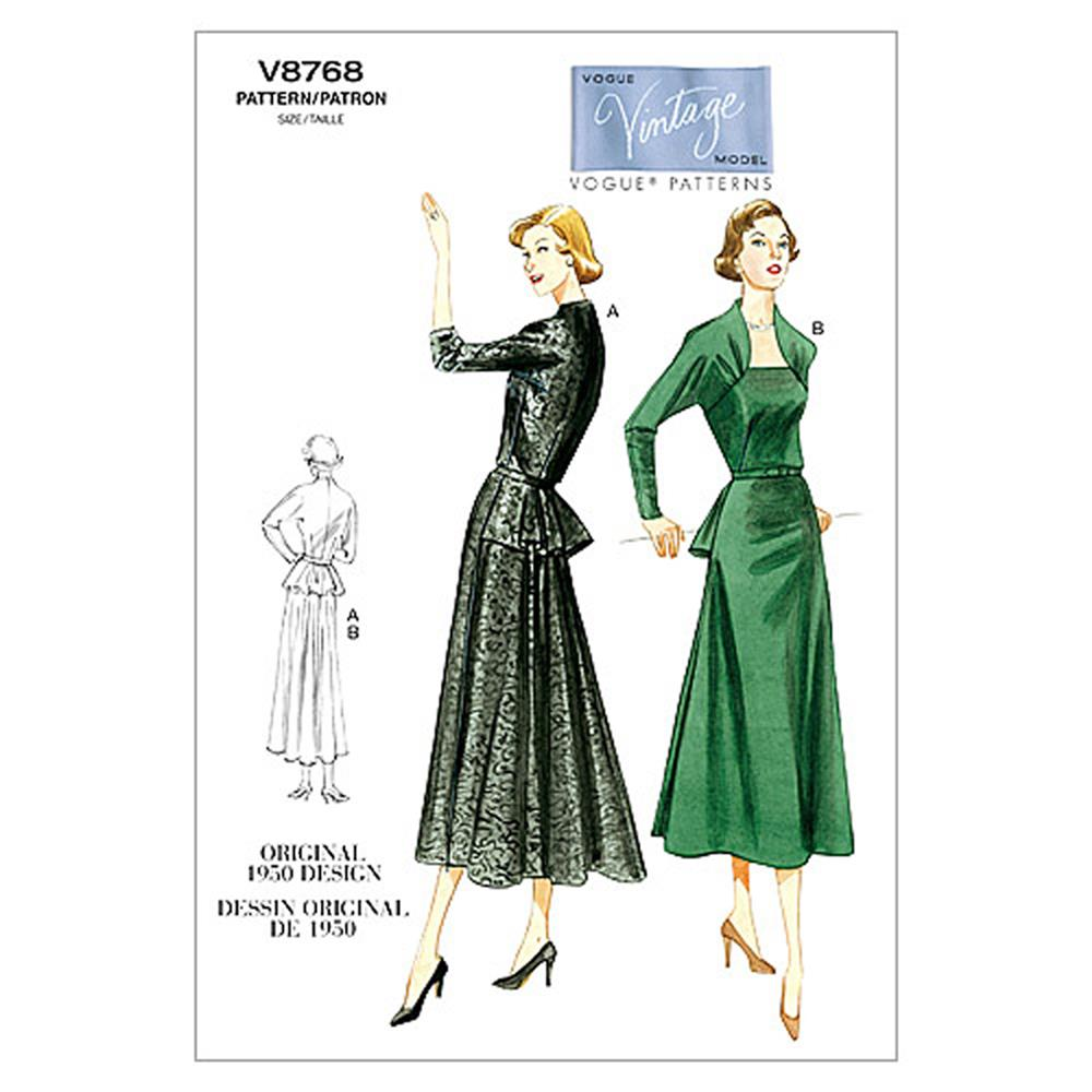 Vogue Misses' Dress Pattern V8768 Size AA0
