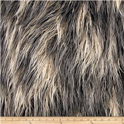 Faux Fur Artic Mongolian Fur Ivory/Grey Fabric
