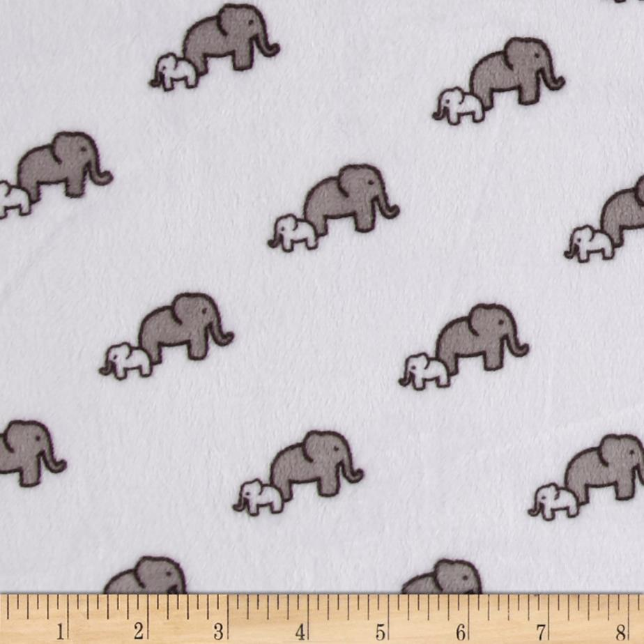Shannon Kaufman Minky Cuddle Little Safari Elephants Snow