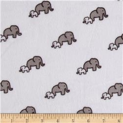 Kaufman Minky Cuddle Little Safari Elephants Snow