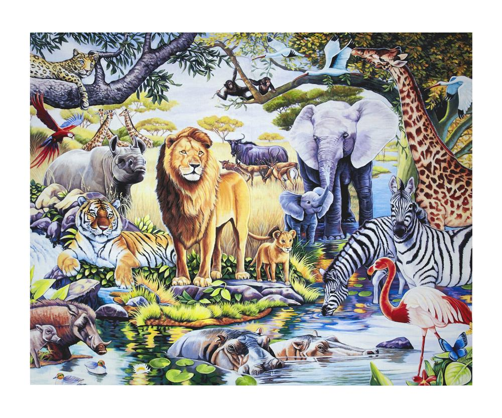 Animal Reign At The Oasis Digital Print 36'' Panel Multi Fabric