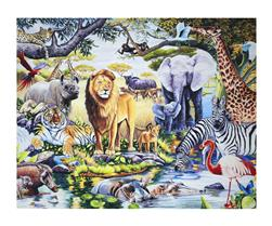 "Animal Reign At The Oasis Digital Print 36"" Panel Multi"