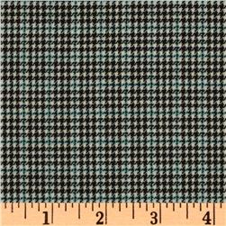 Wool Suiting Houndstooth Black/Cream/Blue