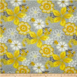 Plush Coral Fleece Floral Grey/Yellow