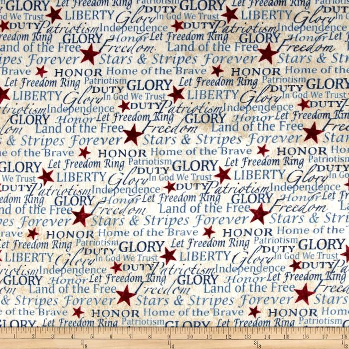 Stars & Stripes Flannel Words Beige Fabric By The Yard