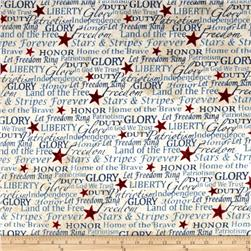 Stars & Stripes Flannel Words Tan