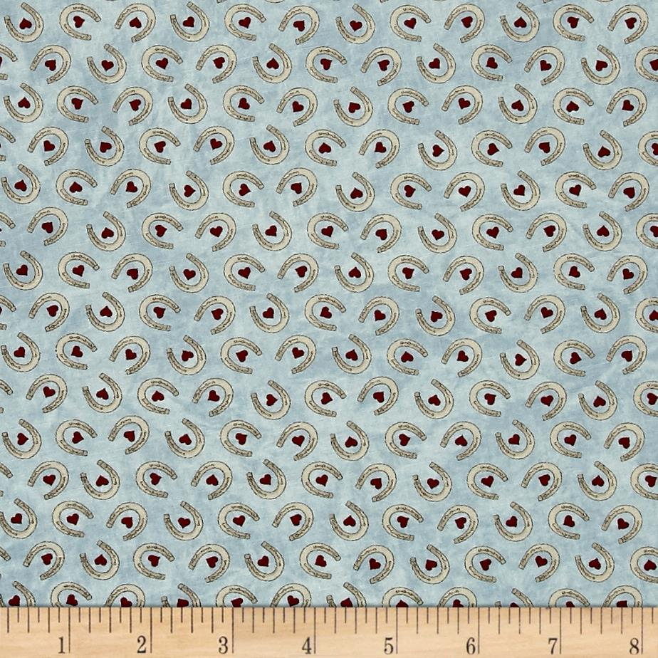 Moda Cowgirl Country Horseshoe Hearts Sky Blue
