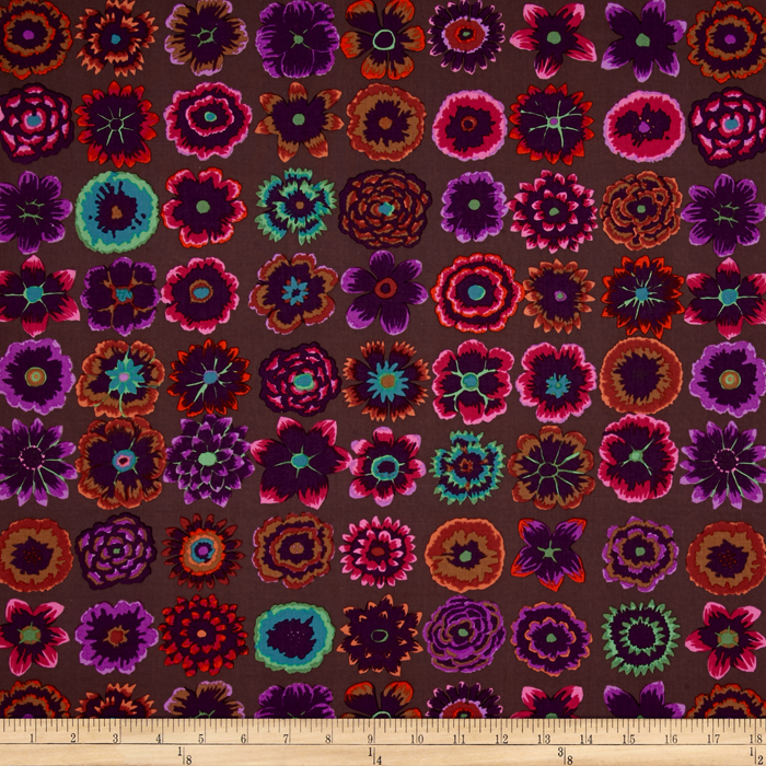 Kaffe Fassett Collective Button Flowers Prune Fabric By The Yard