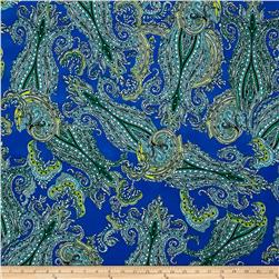 Monaco Stretch ITY Knit Paisley Print Royal