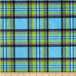Minky Classic Plaid Turquoise
