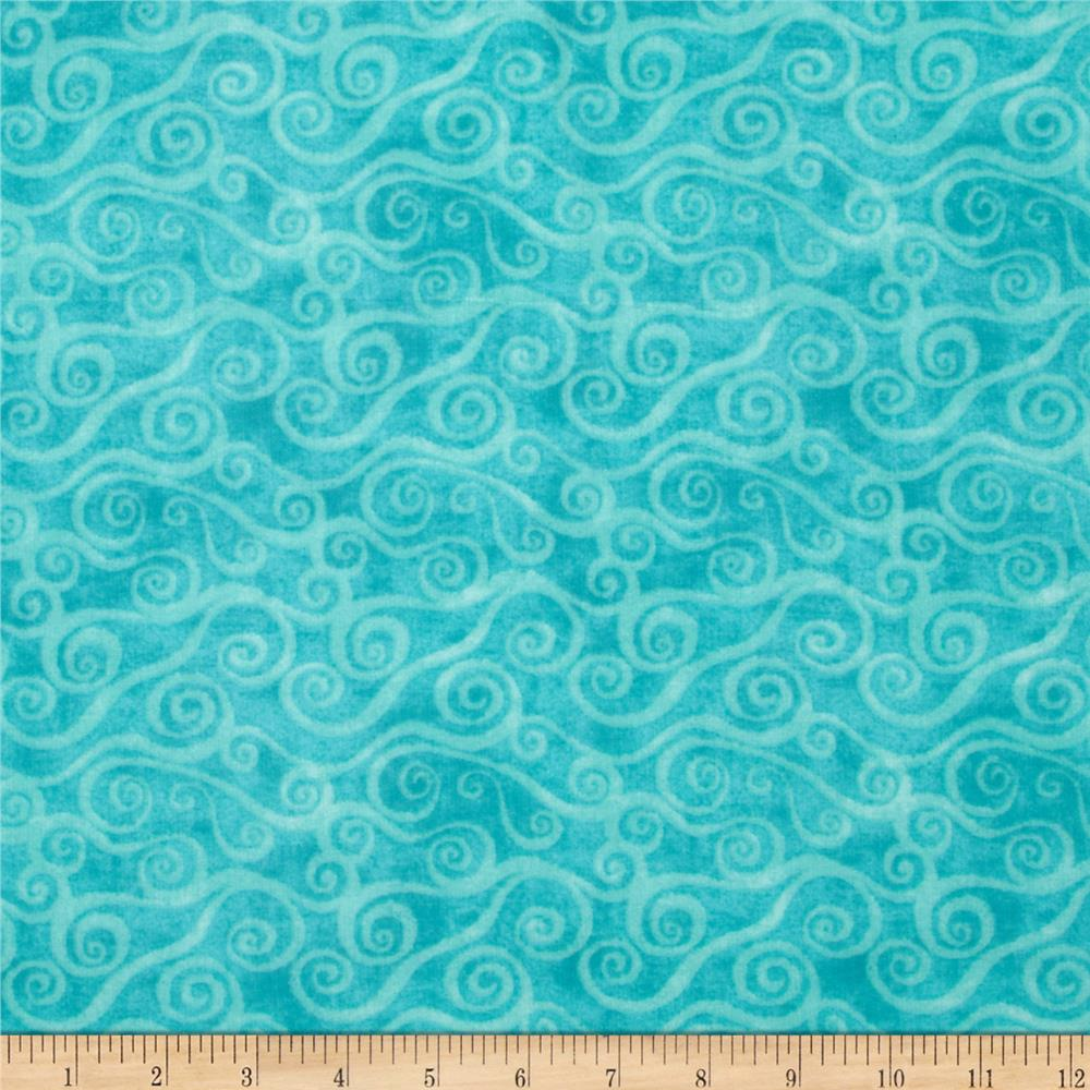 108 wide quilt back flannel swirly scroll teal discount for Quilting material