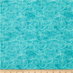108'' Wide Quilt Back Flannel Swirly Scroll Teal