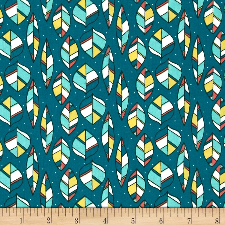 Birch Organic Picnic Whimsy Leaves Teal