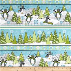 Playful Penguins Flannel Repeating Stripe Multi Fabric